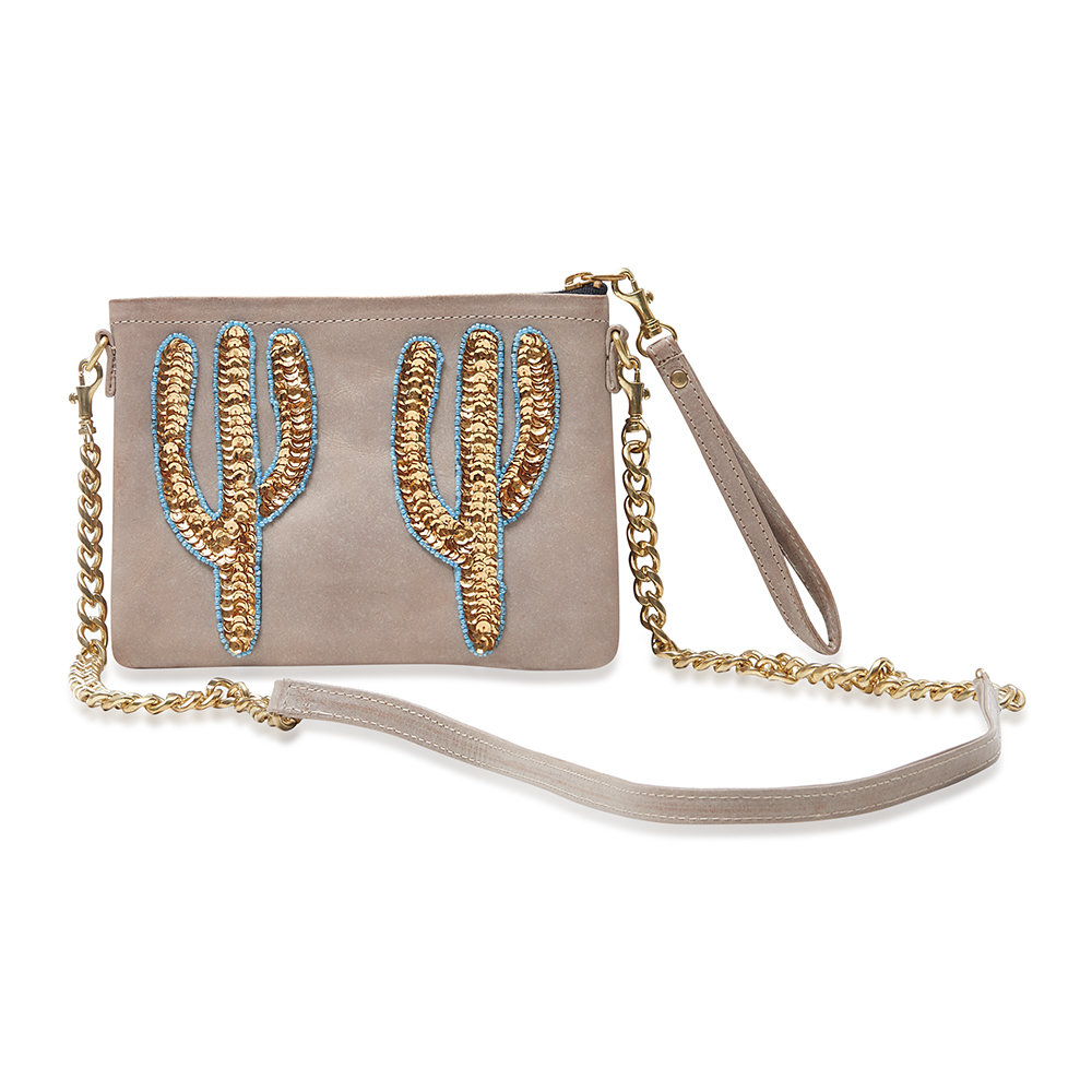 Tea & Tequila - Sonora Gold Cactus Shoulder Bag - Small - Coffee