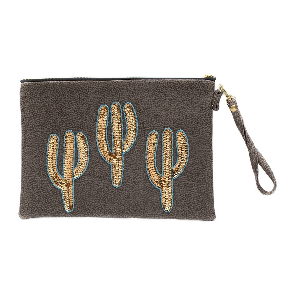Tea  Tequila - Sonora Gold Cactus Vegan Leather Clutch Bag - Large - Coffee
