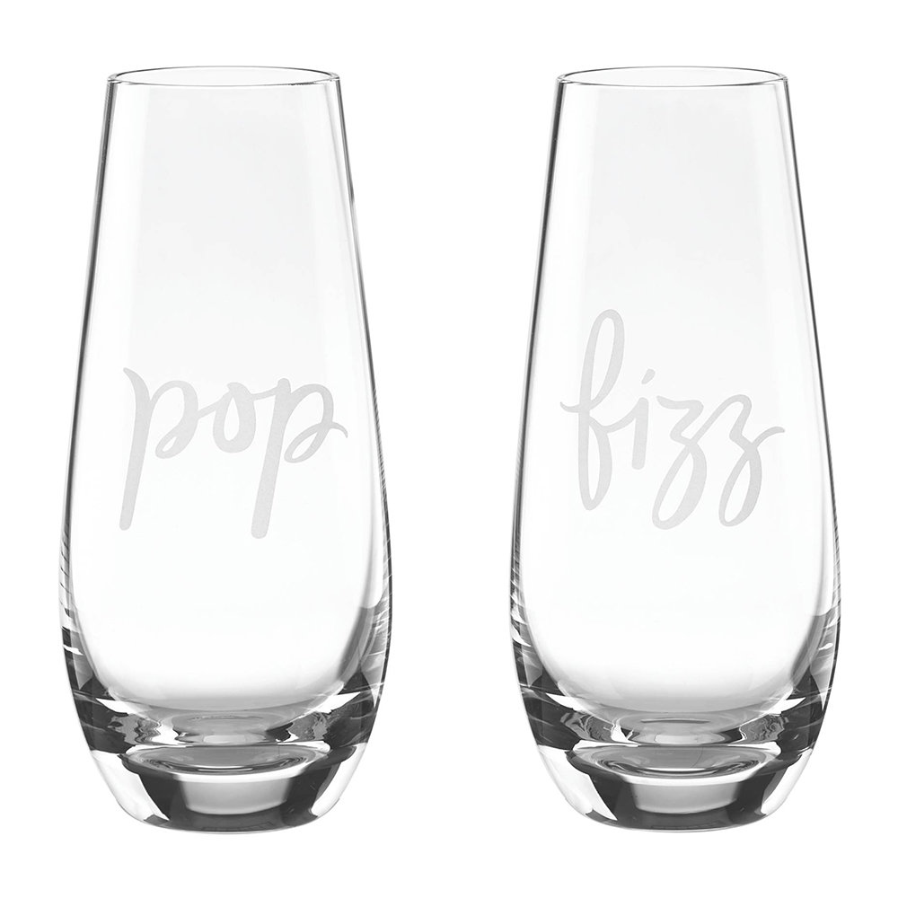 kate spade new york - Two of a Kind Stemless Champagne Glasses - Pop & Fizz - Set of 2