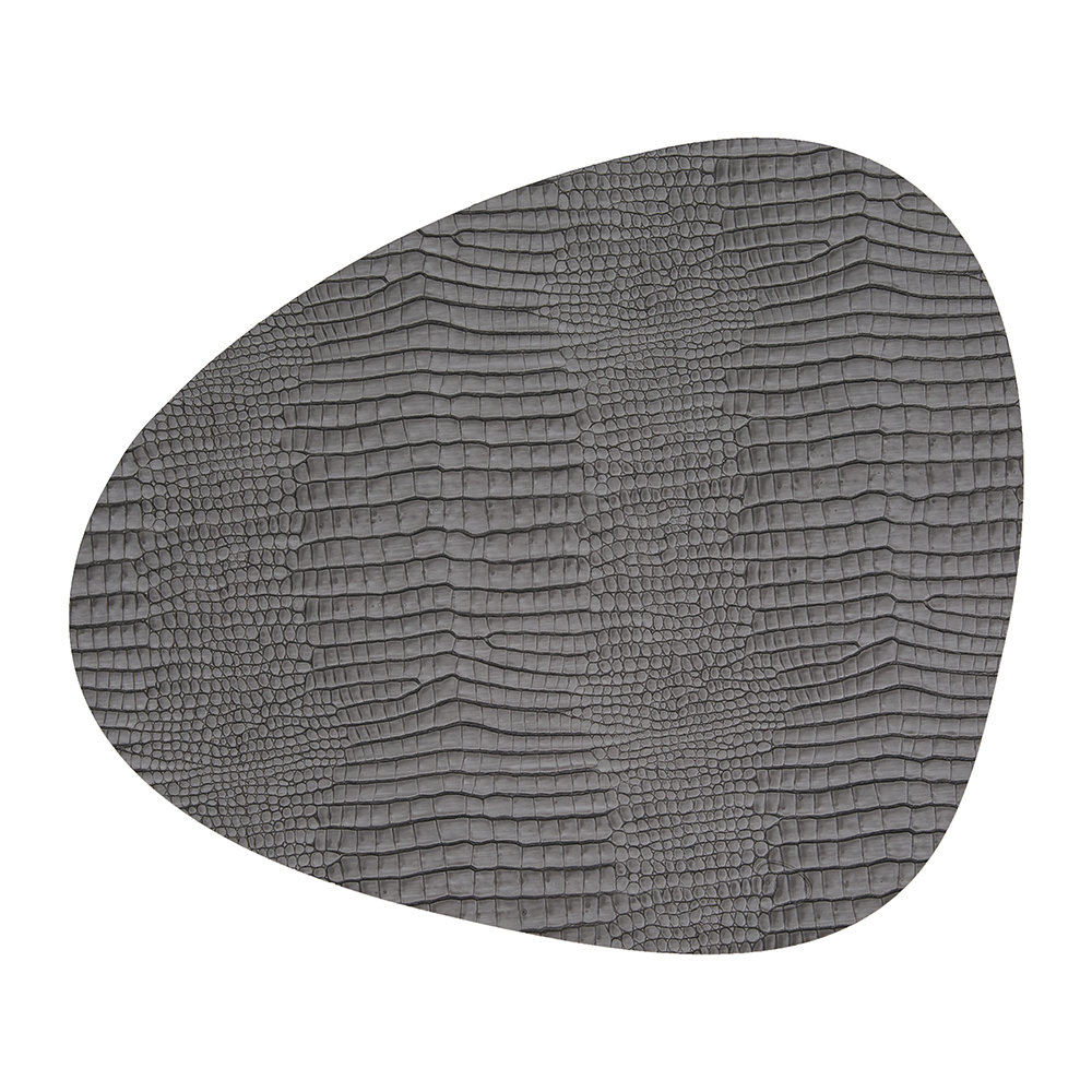 LIND DNA - Croco Curve Table Mat - Silver/Black - Small