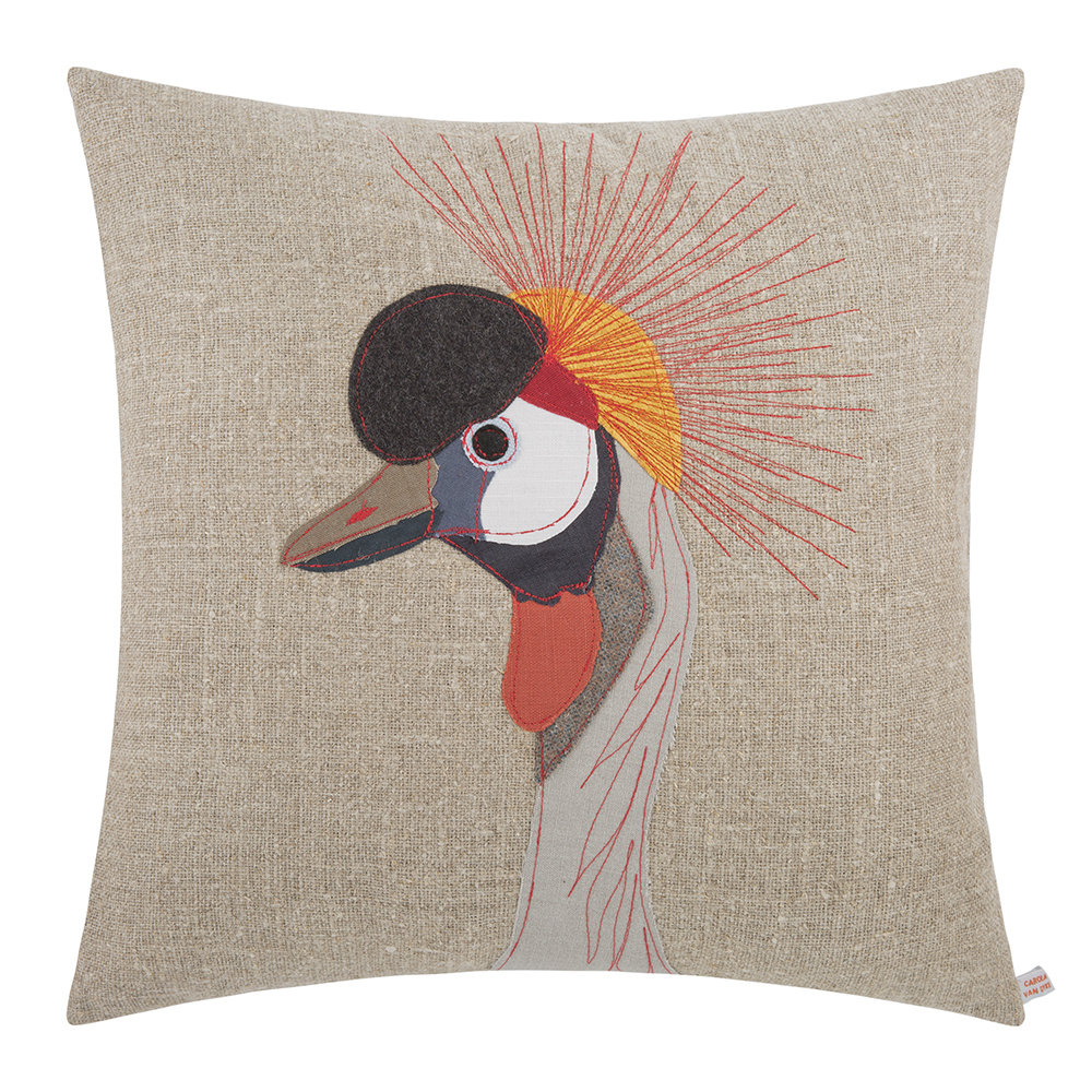 Carola van Dyke - Crowned Crane Cushion - 50x50cm