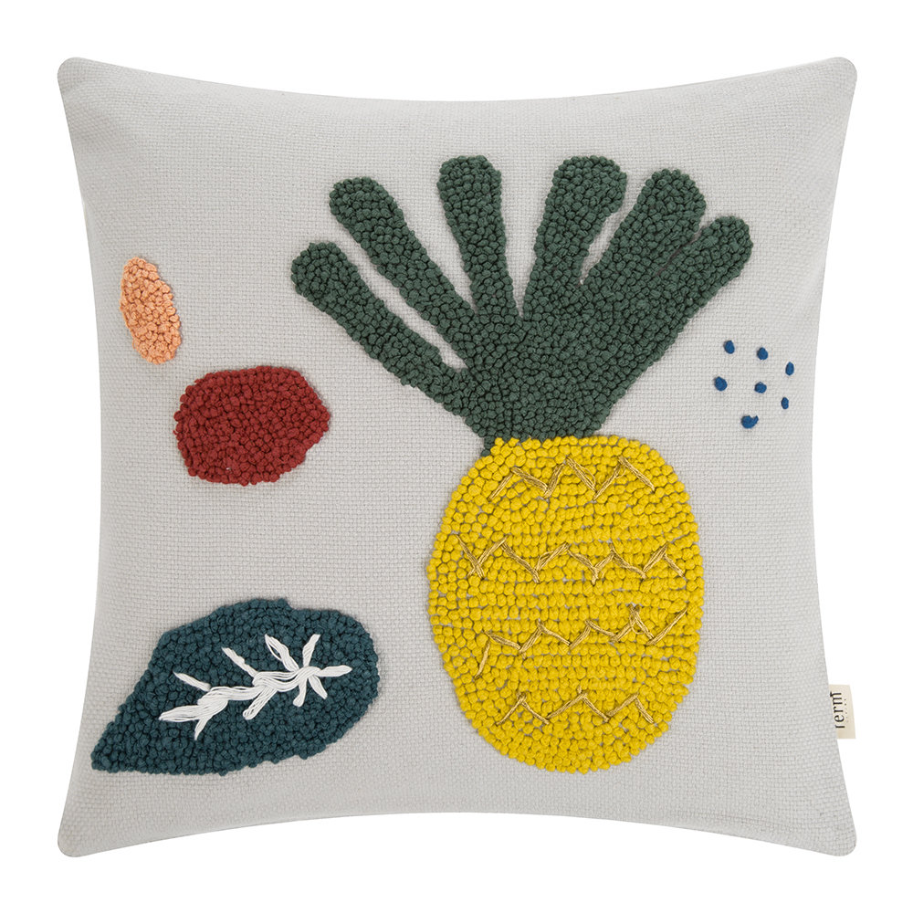 Embroidered Fruiticana Pillow   Pineapple