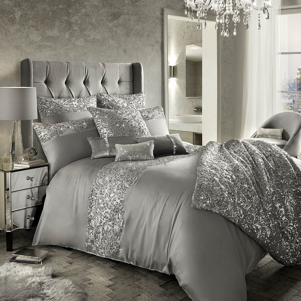 Buy kylie minogue at home cadence duvet cover silver for Amara homes