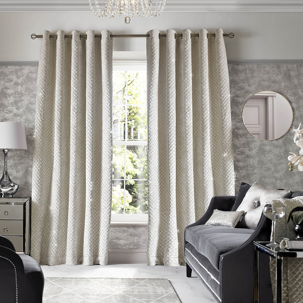 Kylie Minogue at Home - Grazia Lined Eyelet Curtains - Oyster - 229x229cm