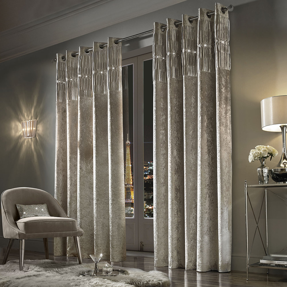 Cotton Canvas Black Eyelet Lined Curtain: Buy Kylie Minogue At Home Veda Lined Eyelet Curtains