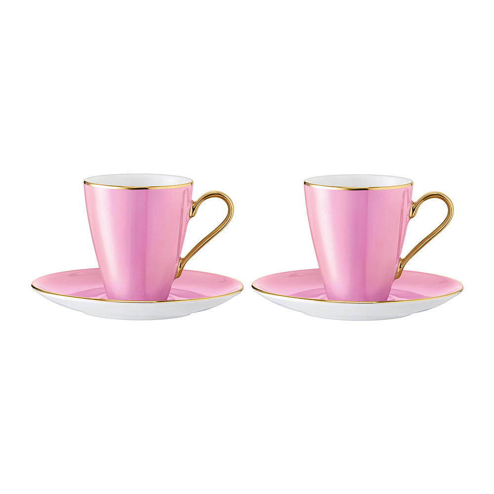 LSA International - Sorbet Coffee Cup & Saucer - Set of 2 - Rose