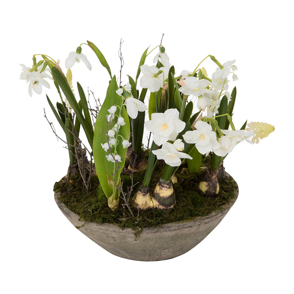 Parlane - Mixed Flowers in a Pot - White