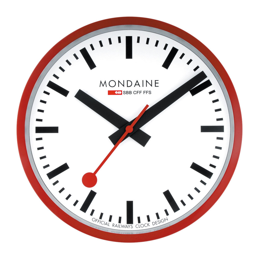 Mondaine SBB - Classic Wall Clock - Red