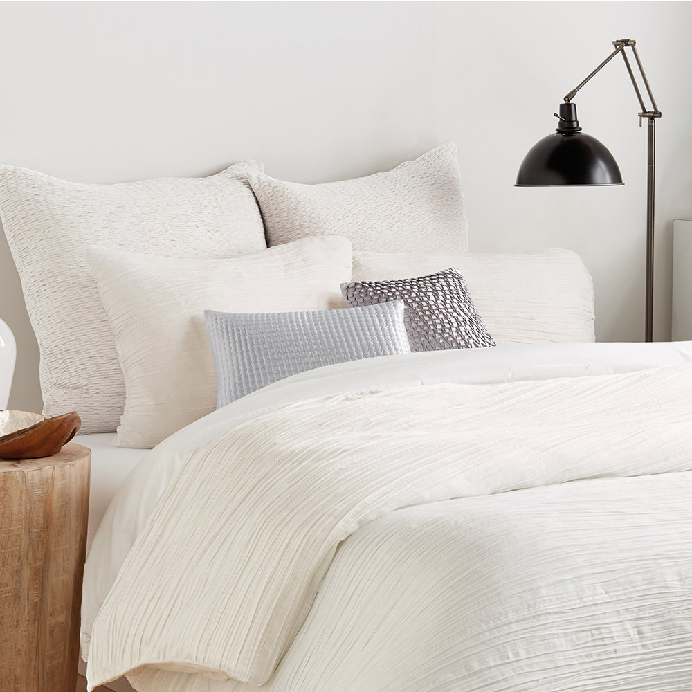 DKNY - City Pleat Woven Duvet Cover - White - King
