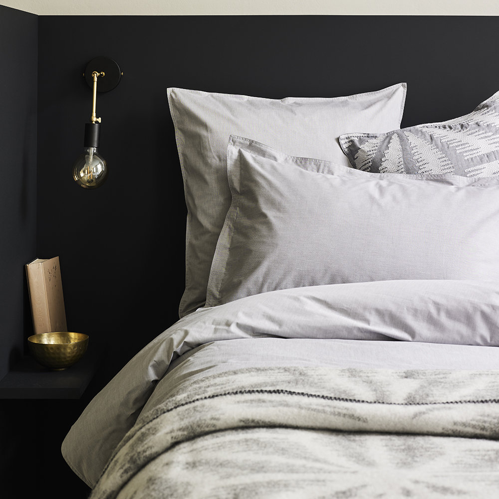 Murmur - Chambray Duvet Cover - Dove Grey - Super King