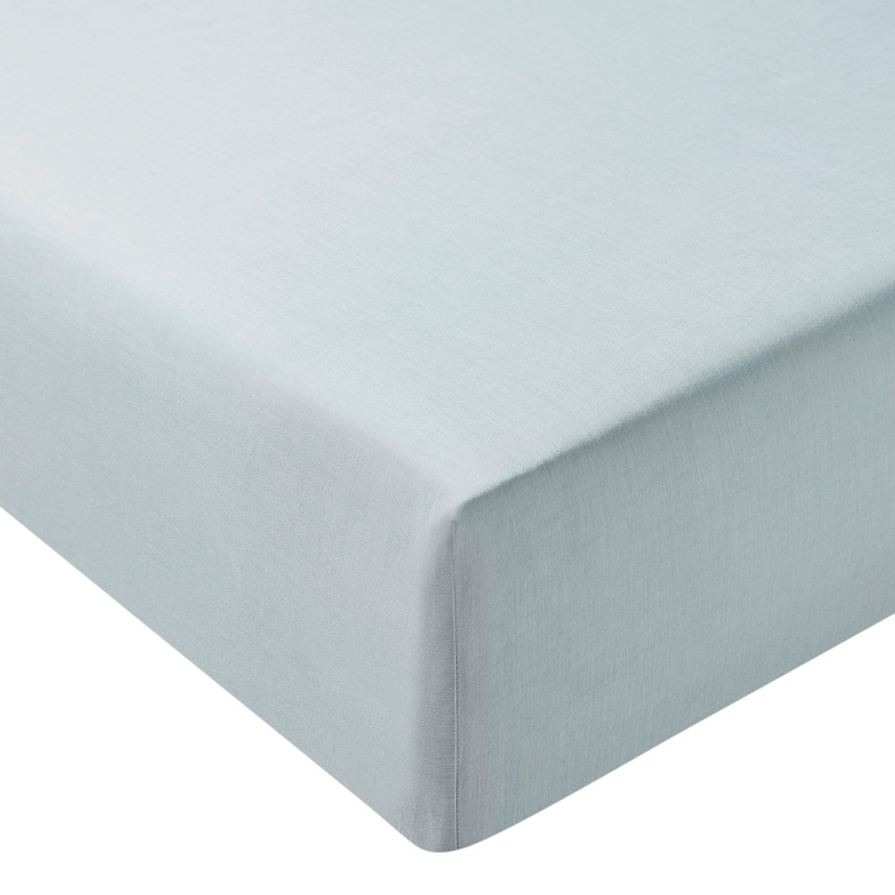Murmur - Chambray Fitted Sheet - Eucalyptus - Double