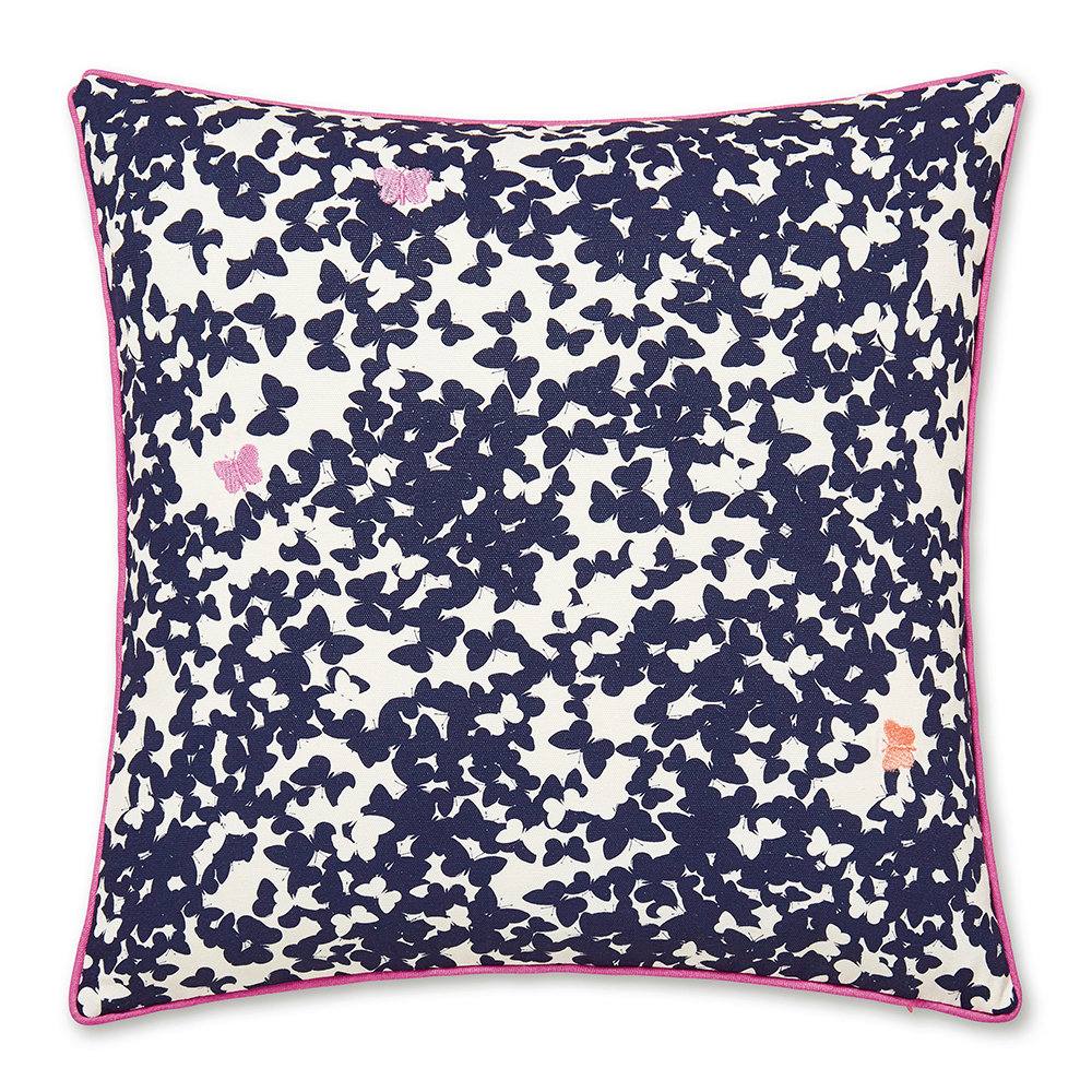 Joules  Painted Poppies Pillow  Navy  40x40cm