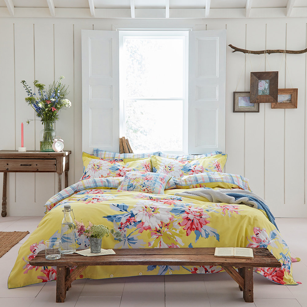 Buy Joules Whitstable Floral Duvet Cover Yellow Super