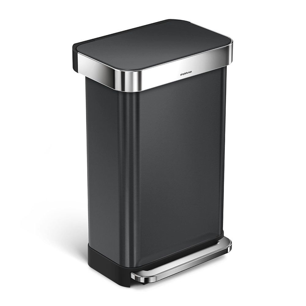 Buy Simplehuman Rectangular Pedal Bin 45l Black Amara