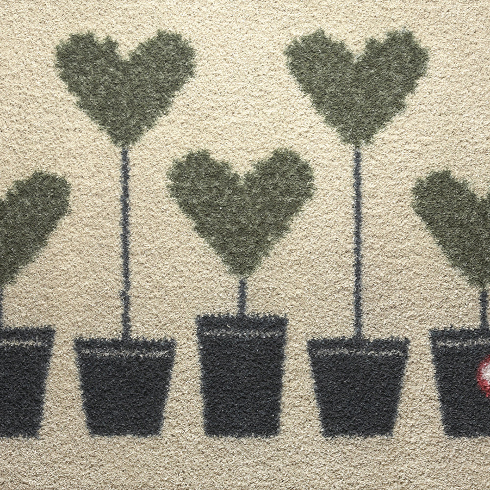Hug Rug - Topiary Hearts Washable Recycled Door Mat - 65x85cm