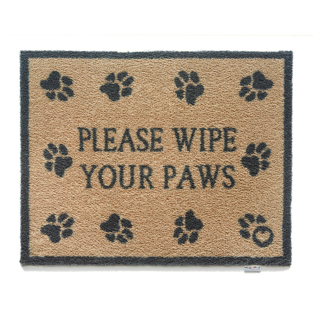 Hug Rug - Please Wipe Your Paws Washable Recycled Door Mat - 65x85cm
