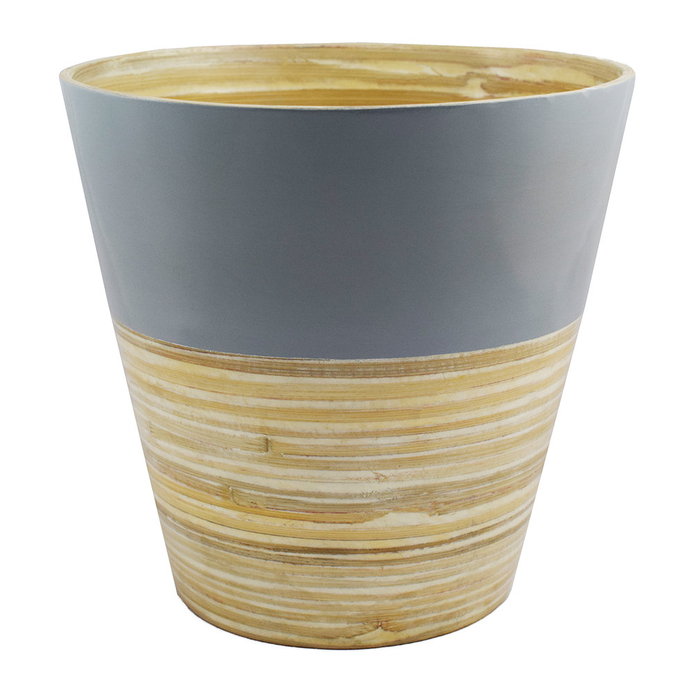 Iron  Clay - Bamboo Planter - Grey