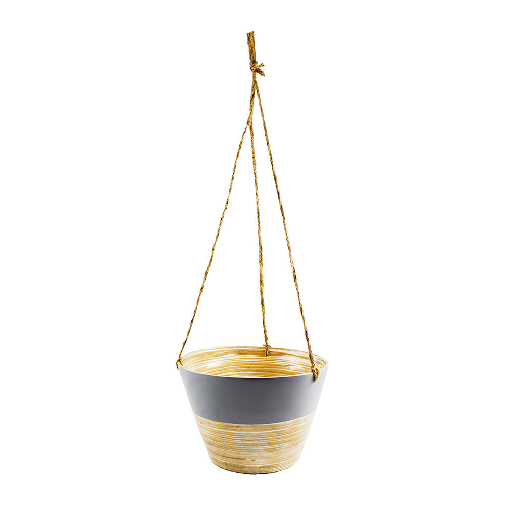 Iron & Clay - Hanging Bamboo Planter - Set of 2 - Gray