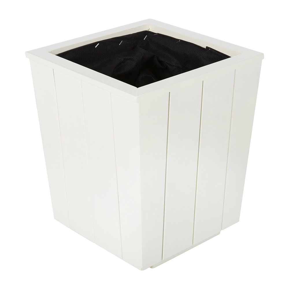 Iron  Clay - Hardwood Tapered Planter - Antique White - Small
