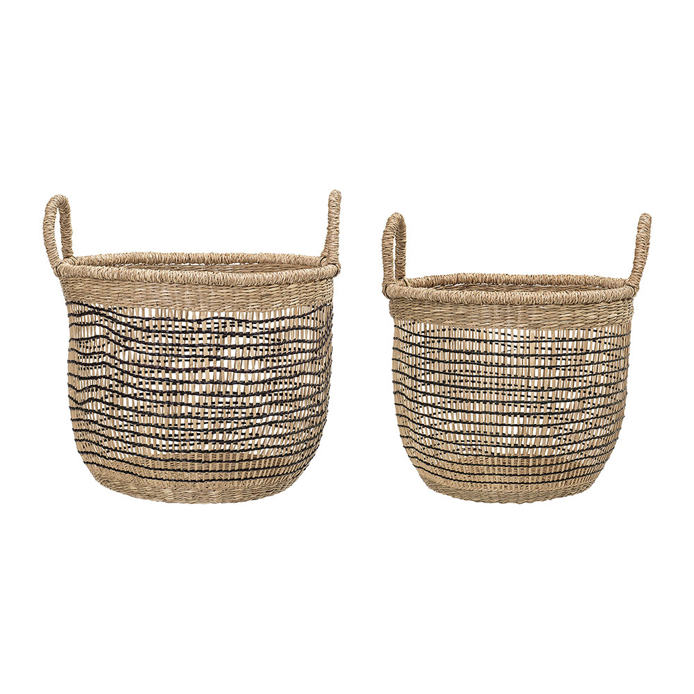 Buy Bloomingville Woven Seagrass Baskets - Natural/Black - Set of 2 ...