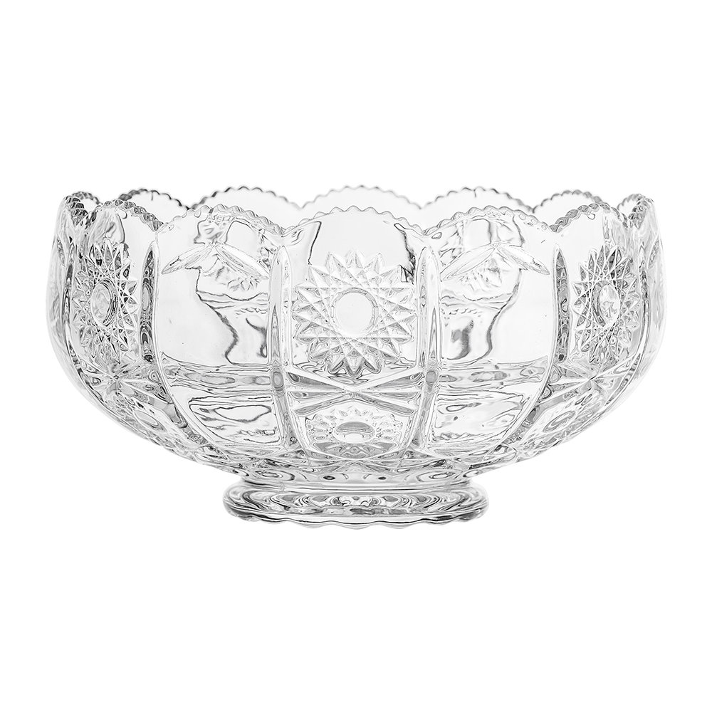 Bloomingville - Art Deco Textured Glass Punch Bowl - Clear