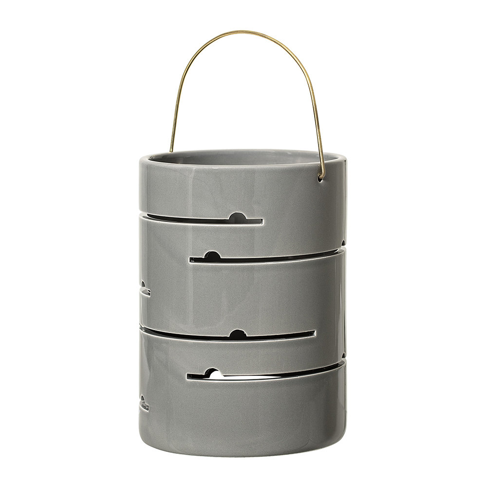 Photo of Bloomingville - Round Ceramic Lantern - Grey - Lines - shop Bloomingville Lawn & Garden, Outdoor Living online