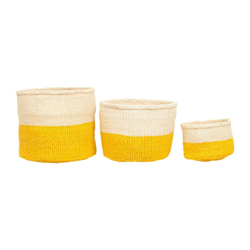 The Basket Room - Color Block Alizeti Hand Woven Basket - Yellow - S