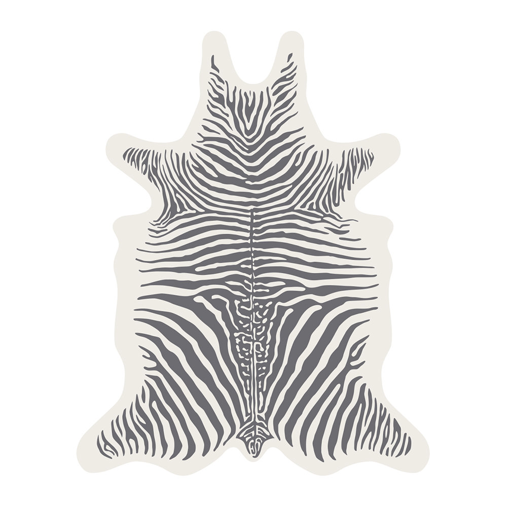 Buy Podevache Zebra Collection Vinyl Floor Mat White