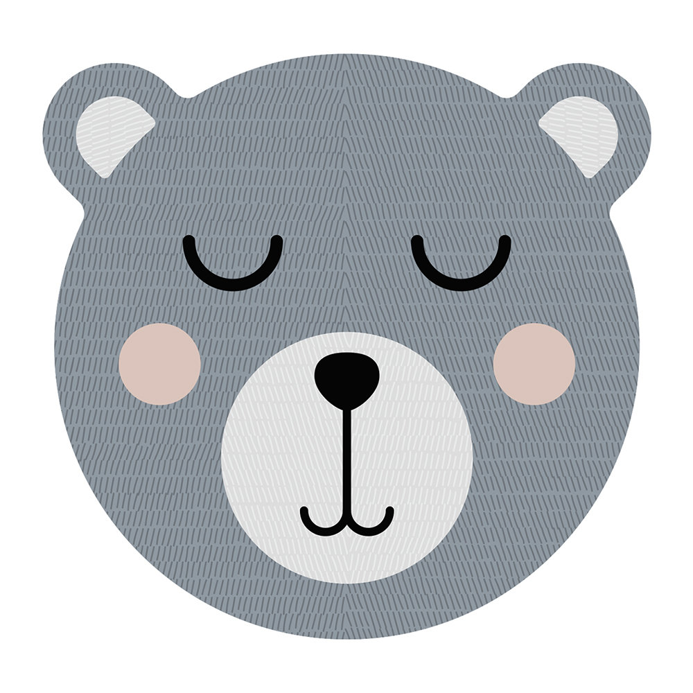PODEVACHE - Bear Face Vinyl Placemat - Grey