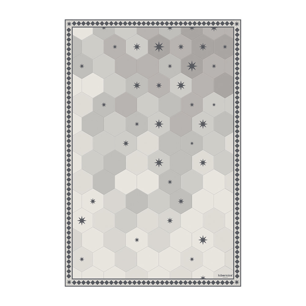 BEAUMONT - Hexagonal Tiles Vinyl Floor Mat - Grey - 99x150cm