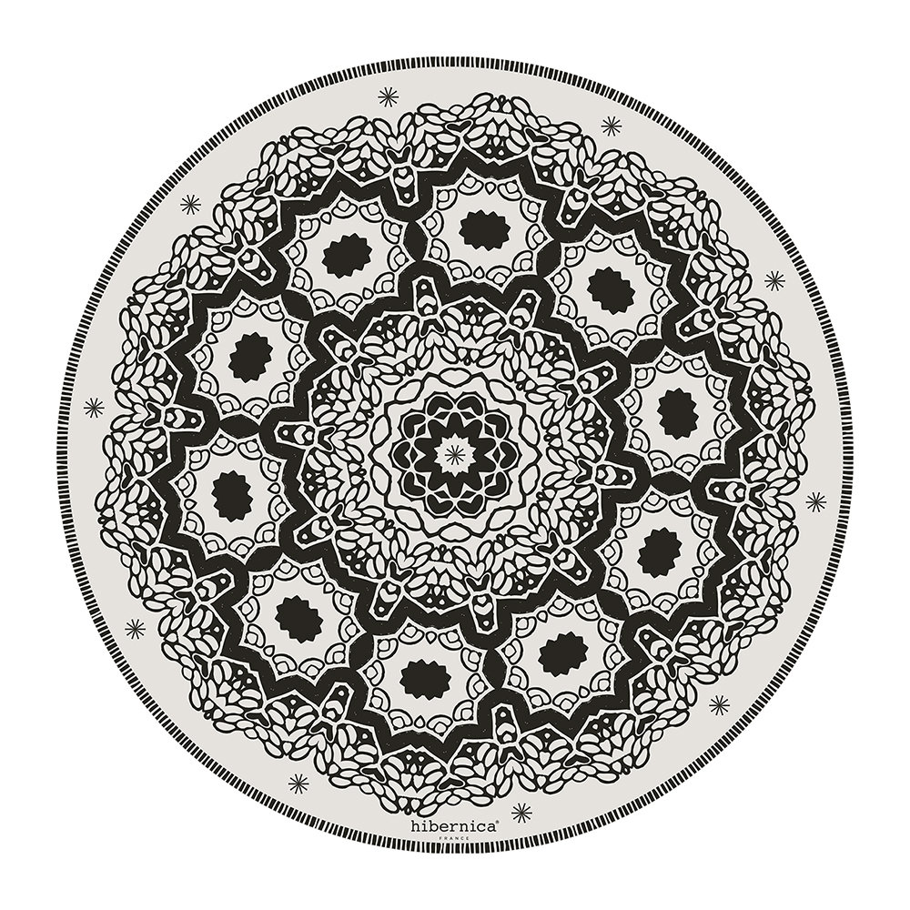 BEAUMONT - Cyclades Abstract Round Vinyl Placemat - Black/White