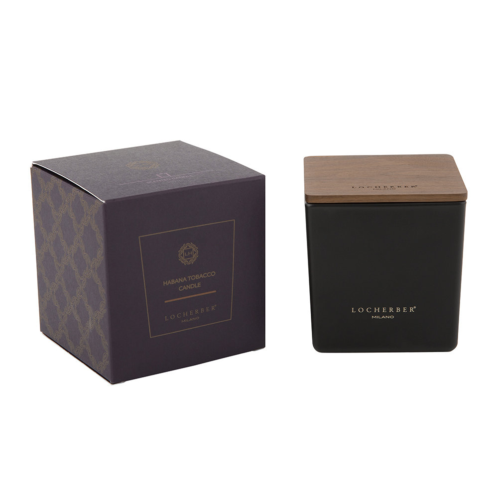 Locherber - Habana Tobacco Scented Candle  Canaletto Walnut Lid - 210g