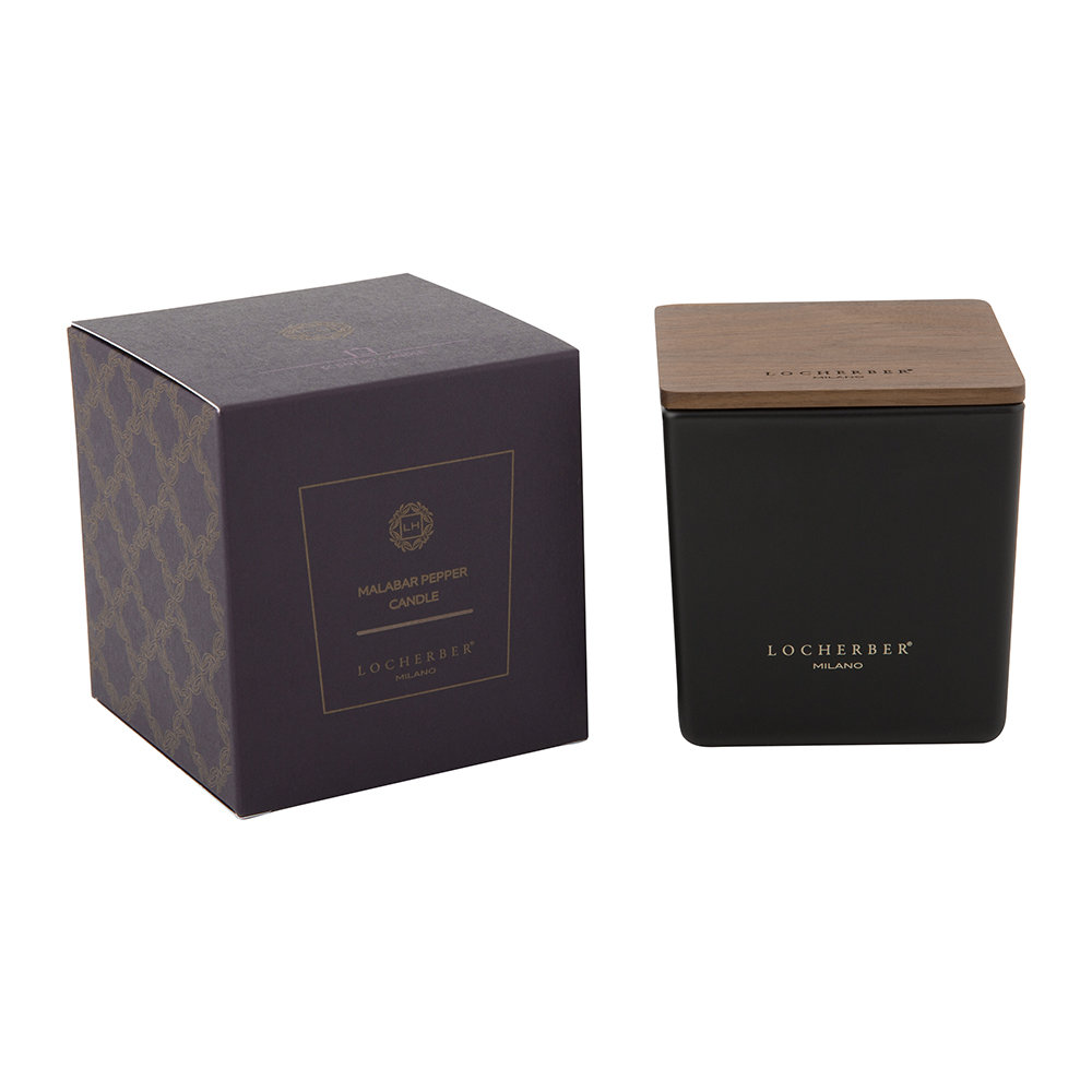 Locherber - Malabar Pepper Scented Candle  Canaletto Walnut Lid - 210g