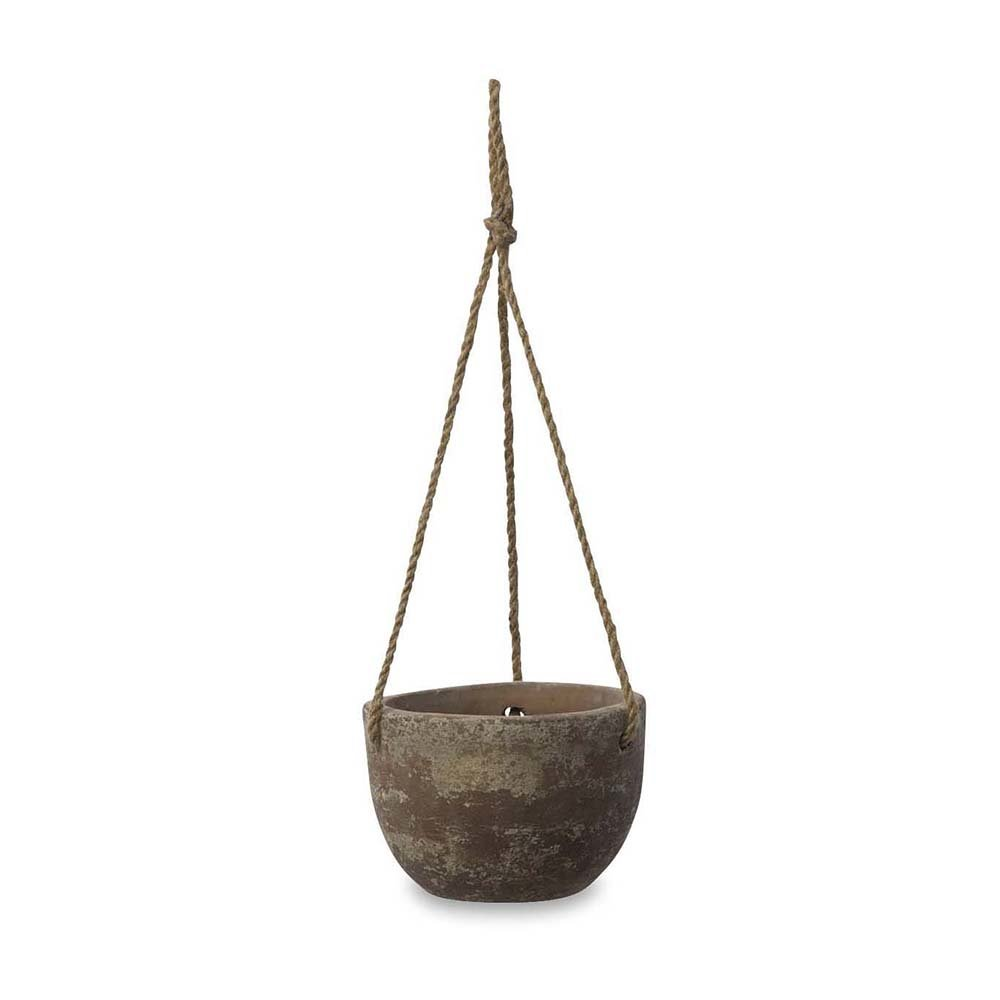 Nkuku - Affiti Hanging Clay Planter - Antique Grey - Small