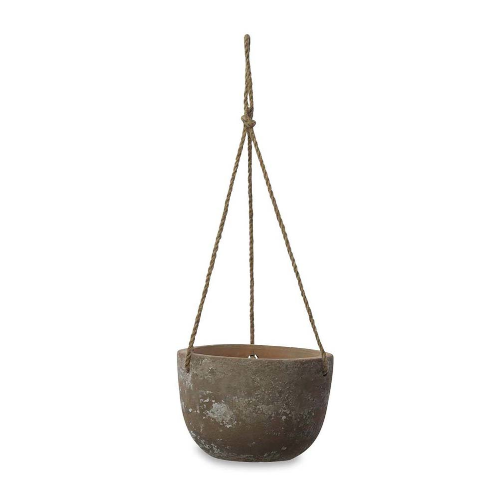 Nkuku - Affiti Hanging Clay Planter - Antique Grey - Large