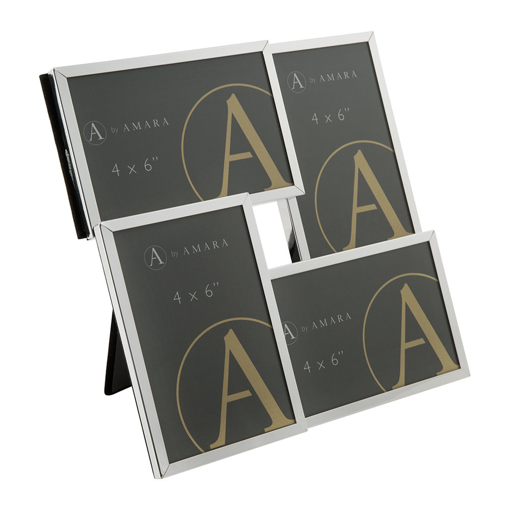 A by Amara - Silver Combo Multi Photo Frame - 4x6""