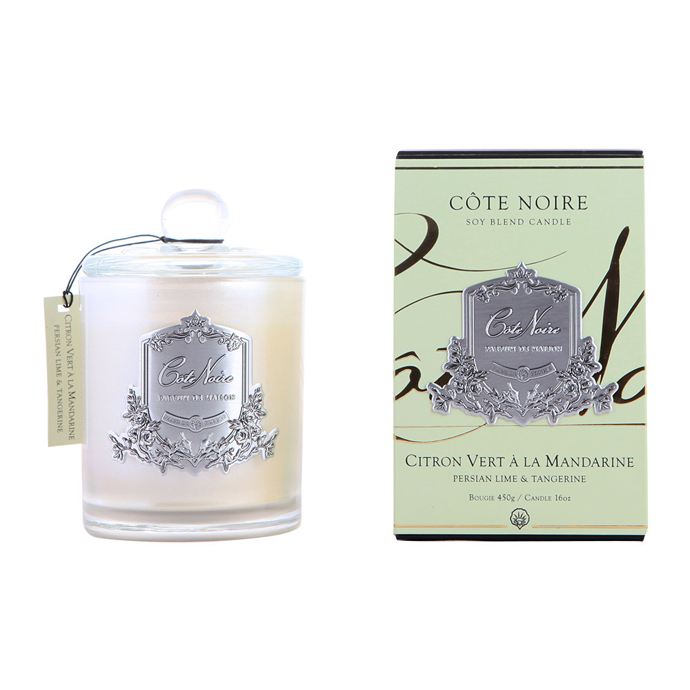 Côte Noire - Gourmandise Silver Scented Candle - Persian Lime  Tangerine - 450g