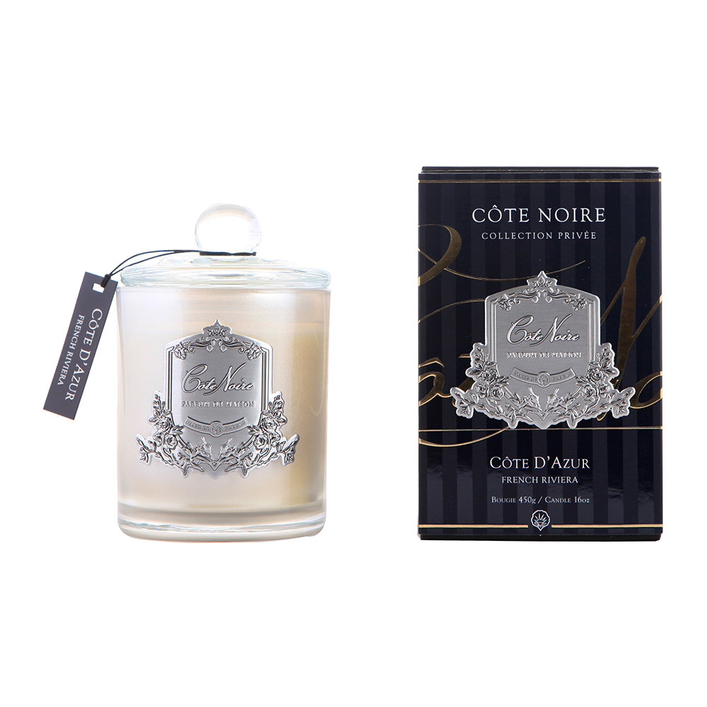 Côte Noire - Gourmandise Silver Scented Candle - French Riviera - 450g