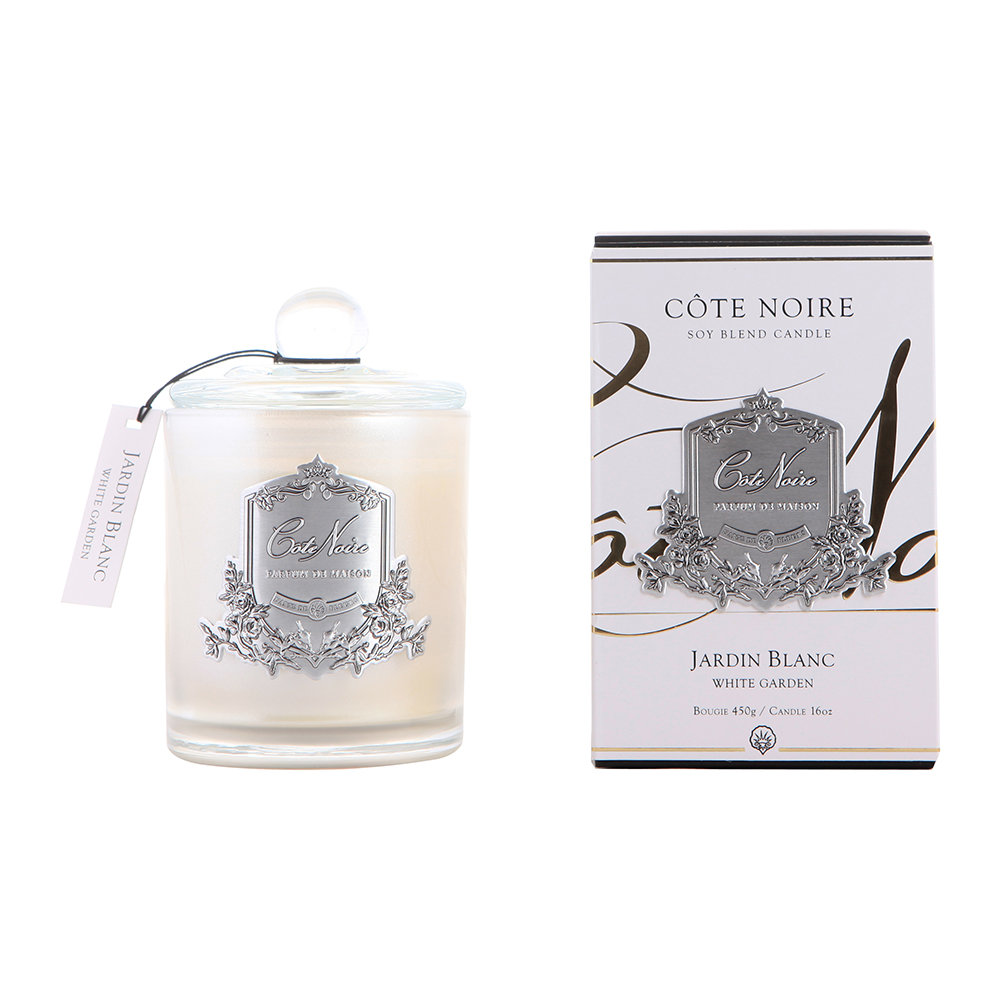 Côte Noire - Gourmandise Silver Scented Candle - White Garden - 450g