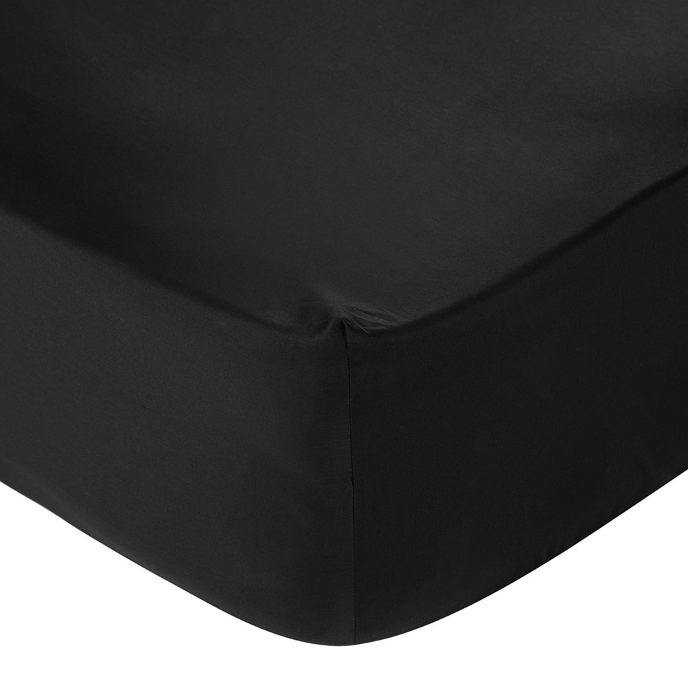 Essentials - Egyptian Cotton Fitted Sheet - Black - Super King