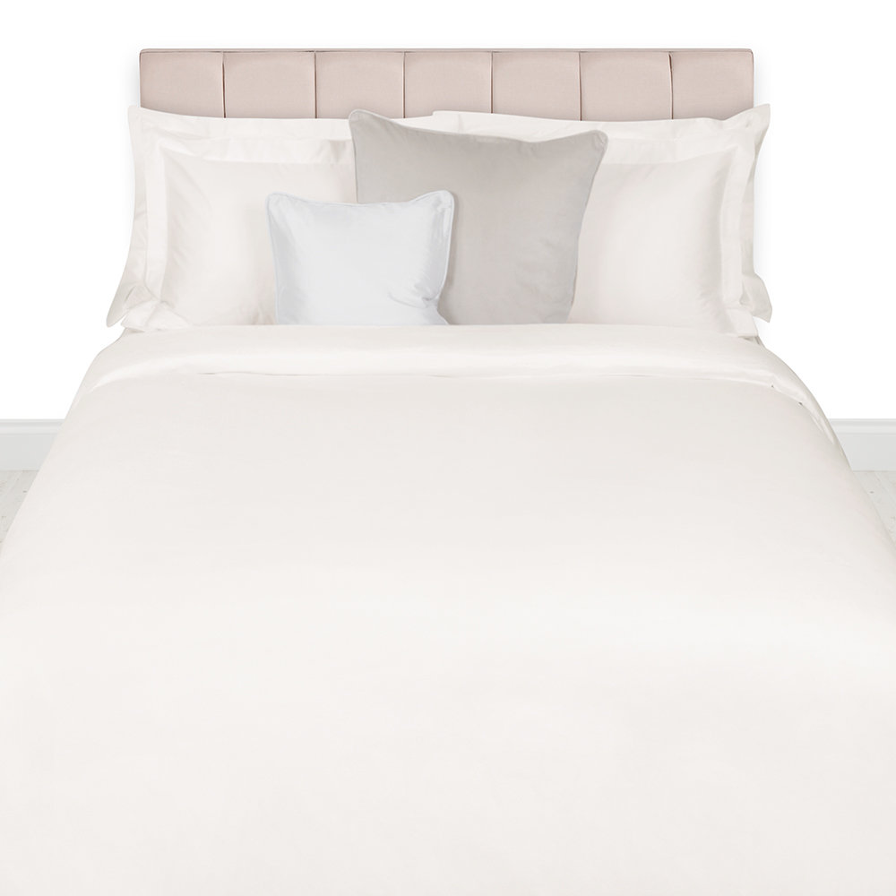 A by Amara - 500 Thread Count Sateen Duvet Cover - Ivory - Double
