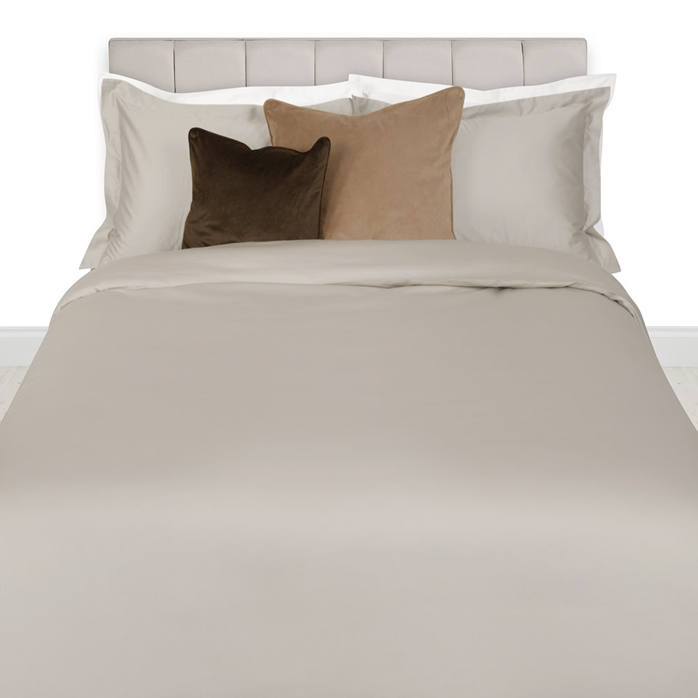 A by Amara - 500 Thread Count Sateen Duvet Cover - Taupe - Double