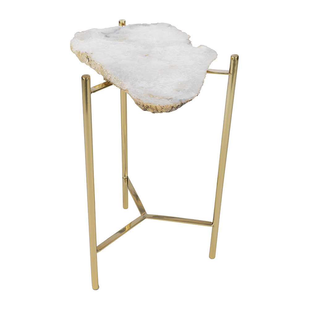 A by Amara - Agate Slab Side Table - White