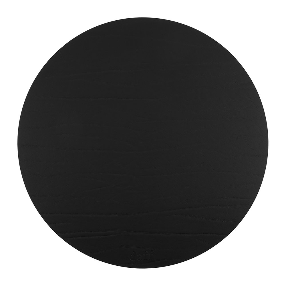 A by Amara  Round Leather Placemat  Black