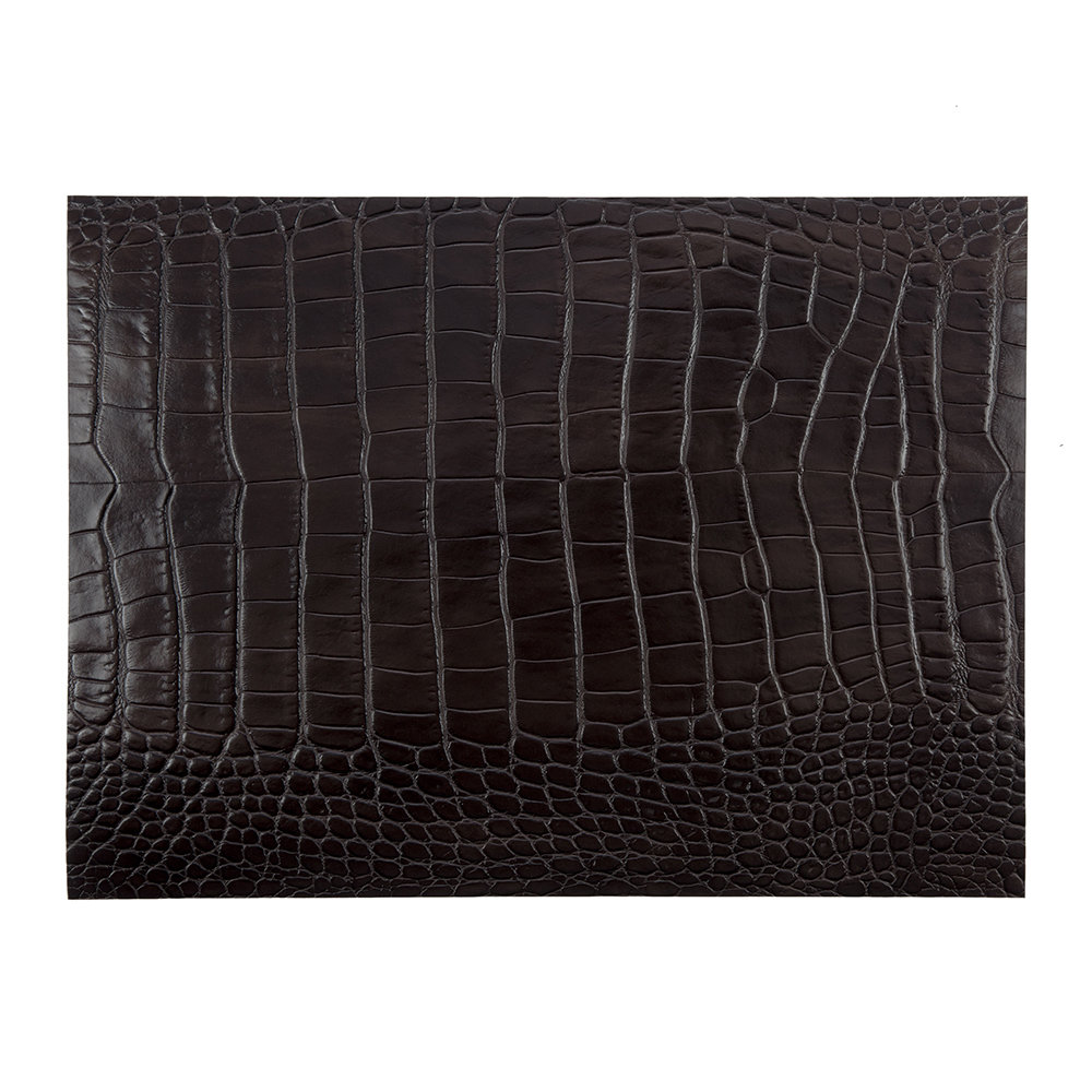 A by Amara - Gator Recycled Leather Placemat - Dark Chocolate