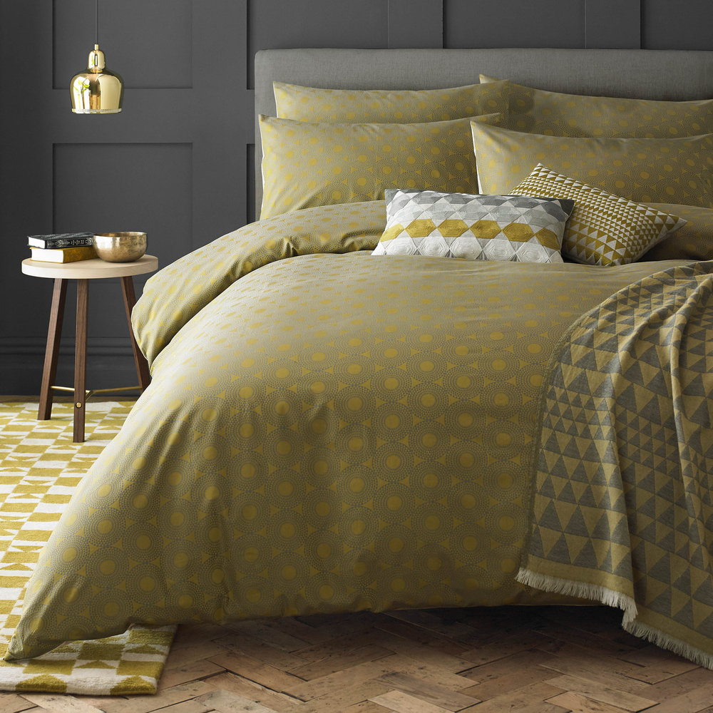 Niki Jones - Concentric Duvet Cover - Chartreuse - King