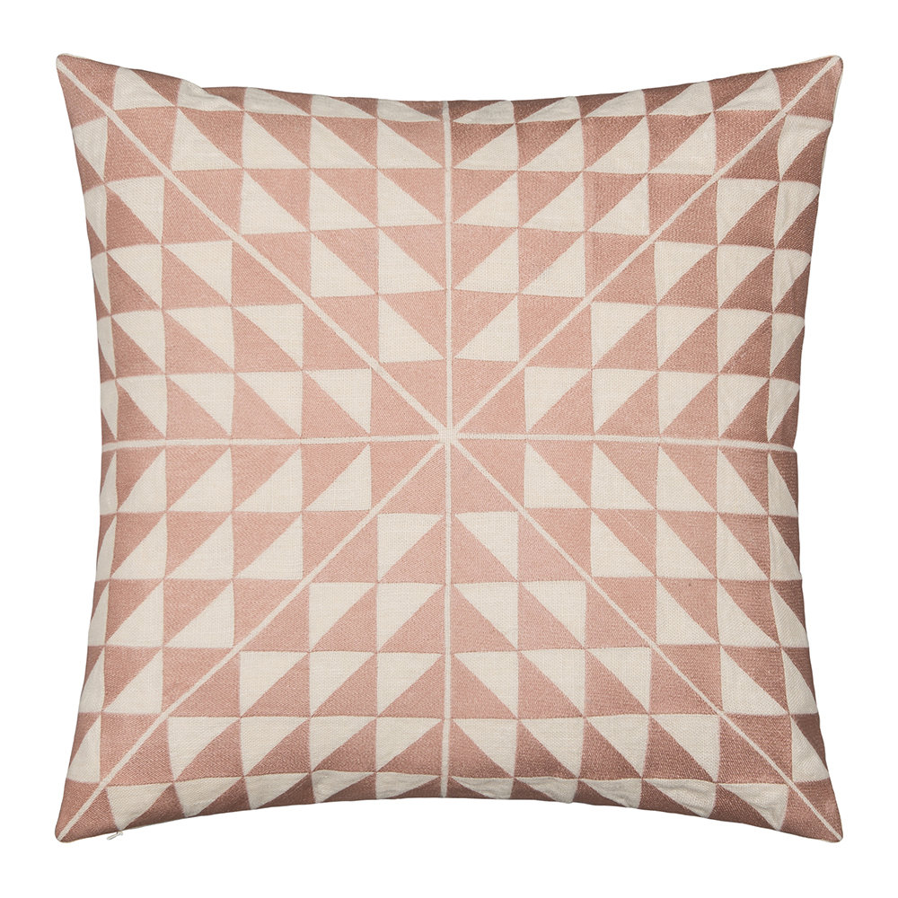 Niki Jones - Geocentric Cushion - 50x50cm - Dusky Pink  Ivory Linen