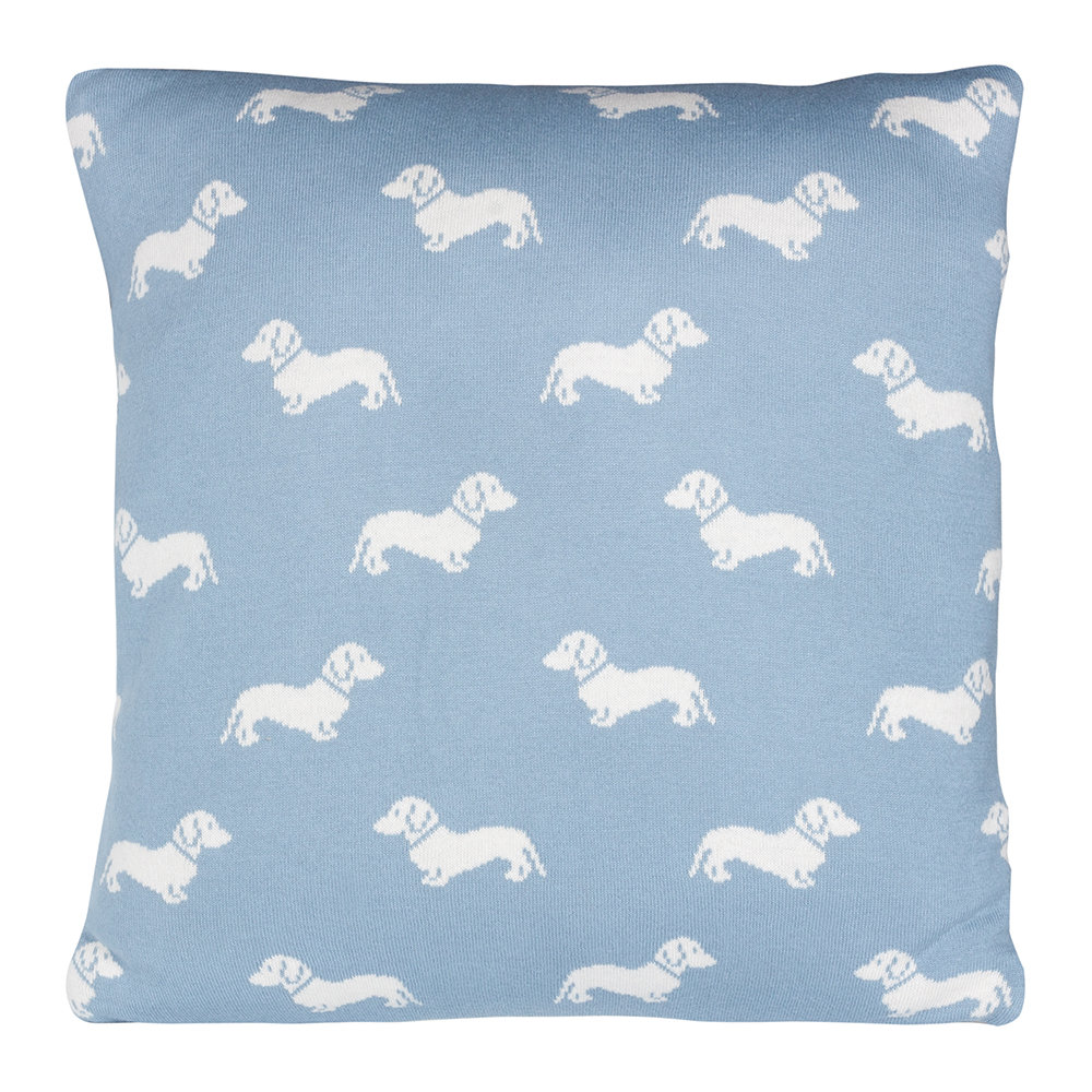 Emily Bond  Knitted Dachshund Pillow  50x50cm  Blue