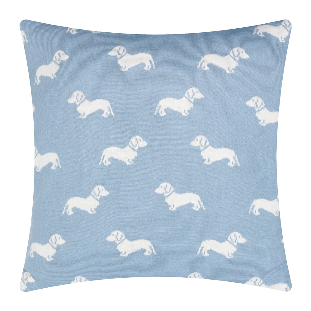 Emily Bond - Knitted Dachshund Cushion - 50x50cm - Blue