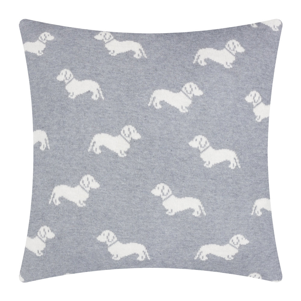 Emily Bond - Knitted Dachshund Cushion - 50x50cm - Grey